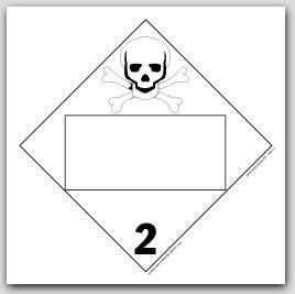 Toxic Poison Class 2 Self Adhesive Vinyl Placards 25/pkg