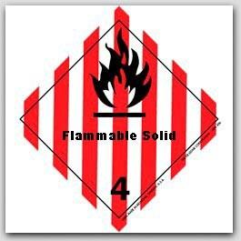 "4x4"" Class 4 Flammable Solid Vinyl Labels 500/rl"
