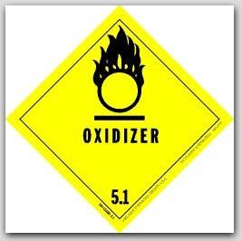 "4x4"" Class 5 Oxidizer Paper Labels 500/rl"