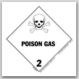 "4x4"" Class 2 Poison Gas Paper Labels 500/rl"