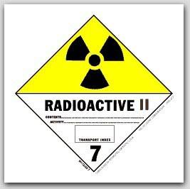 "4x4"" Class 7 Radioactive 2 Vinyl Labels 500/rl"