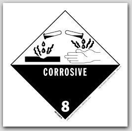 "4x4"" Class 8 Corrosive Paper Labels 500/rl"