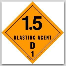 """4x4"""" Class 1.5d Blasting Agents Vinyl Labels 500/rl"""