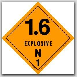 "4x4"" Class 1.6n Explosives Paper Labels 500/rl"