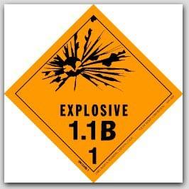 "4x4"" Class 1.1b Explosives Paper Labels 500/rl"