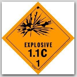 "4x4"" Class 1.1c Explosives Paper Labels 500/rl"