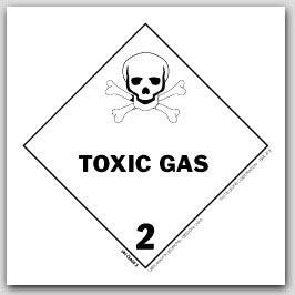"4x4"" Class 2 Toxic Gas Paper Labels 500/rl"