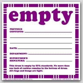 "6x6"" Empty Previous Contents Vinyl Labels 100/pkg"