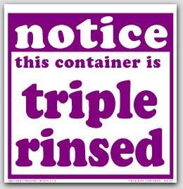 """6x6"""" Notice Container Triple Rinsed Vinyl Labels 100/pkg"""