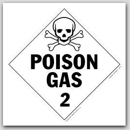Poison Gas Class 2 Self Adhesive Vinyl Placards 25/pkg