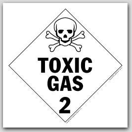 Toxic Gas Class 2 Self Adhesive Vinyl Placards 25/pkg