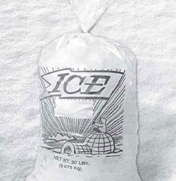 "10lb 12x19x1-1/2"" Printed Ice Bags Drawstring 500/cs"