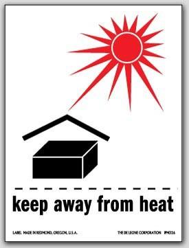 "3x4"" International Labels Keap Away From Heat 500/rl"