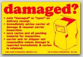 "2x3"" Damaged Shipping Labels 500/rl"