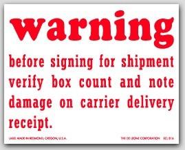 "4x5"" Warning Verify Box Count And Damage Shipping Labels 500/rl"
