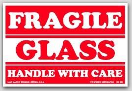 """3x5"""" Glass Fragile Labels 500/rl"""
