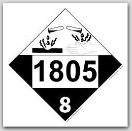 Placards Printed UN1805 Phosphoric Acidon self adhesive vinyl. 25/pkg