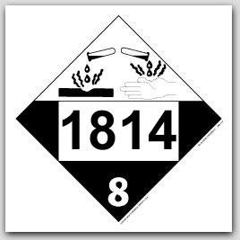 Placards Printed UN1814 Potassium Hydroxide, Solutionon self adhesive vinyl. 25/pkg