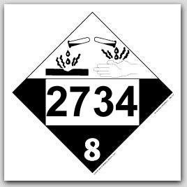 Placards Printed UN2734 Amines, n.o.s. or Polyamines n.o.s.on self adhesive vinyl. 25/pkg