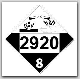 Placards Printed UN2920 Corrosive Liquids, Flammable, n.o.s.on self adhesive vinyl. 25/pkg