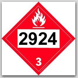 Placards Printed UN2924 Flammable Liquid, Corrosive, n.o.s.on self adhesive vinyl. 25/pkg