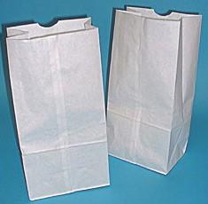 #16 White Regular Duty Grocery Bags 7-3/4x4-13/16x16 - 500/Bale