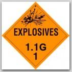 Class 1.1g Explosives Self Adhesive Vinyl Placards 25/pkg