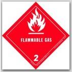 """4x4"""" Class 2 Flammable Gas Vinyl Labels 500/rl"""