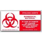 "2x4"" Biomedical Material Etiologic Agents Vinyl Labels 500/rl"
