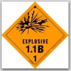 "4x4"" Class 1.1b Explosives Vinyl Labels 500/rl"