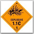 "4x4"" Class 1.1c Explosives Vinyl Labels 500/rl"