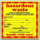 "6x6"" Hazardous Waste Liquid Vinyl Labels 100/pkg"