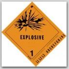 "4x4"" Class 1 Explosives Vinyl Labels 500/rl"