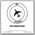 "4x4"" Air Eligible Net Gross Mass Vinyl Labels White and Black 500/rl"
