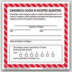 "4x4"" Dangerous Goods In Expected Quantities Paper Labels 500/rl"