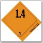 "4-1/2x4"" Class 1.4 Explosives Vinyl Labels 500/rl"