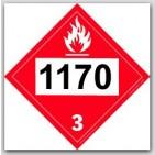 Placards Printed UN1170 Ethyl Alcohol, Ethanol, Ethanol Solutionon self adhesive vinyl. 25/pkg
