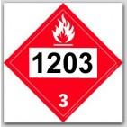Placards Printed UN1203 Gasolineon self adhesive vinyl. 25/pkg