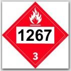 Placards Printed UN1267 Petroleum Crude Oilon self adhesive vinyl. 25/pkg
