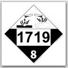 Placards Printed UN1719 Caustic Alkalis Liquids, n.o.s.on self adhesive vinyl. 25/pkg