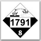 Placards Printed UN1791 Hypochlorite Solutionon self adhesive vinyl. 25/pkg
