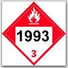 Placards Printed UN1993 Combustible Liquid, n.o.s.on self adhesive vinyl. 25/pkg