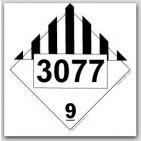 Placards Printed UN3077 Environmentally Hazardous Substances, Solid, n.o.s.. 25/pkg