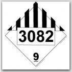 Printed UN3082 Environmentally Hazardous Substances, Liquid, n.o.s. Polycoated Tagboard Placards 25/