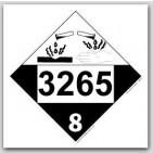 Printed UN3265 Corrosive Liquid, Acidic, Organic, n.o.s. Polycoated Tagboard Placards 25/pkg