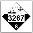 Printed UN3267 Corrosive Liquid, Basic, Organic, n.o.s. Polycoated Tagboard Placards 25/pkg